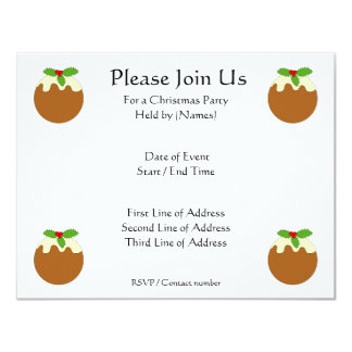 Christmas Pudding. White background. 4.25x5.5 Paper Invitation Card