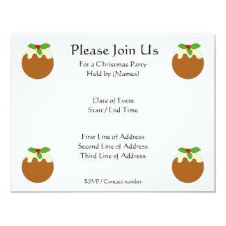 "Christmas Pudding. White background. 4.25"" X 5.5"" Invitation Card"