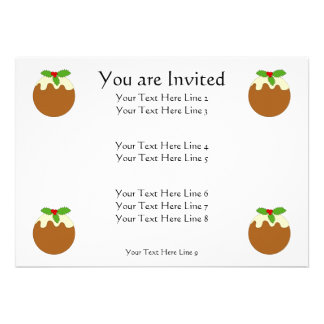 Christmas Pudding White background Custom Announcement
