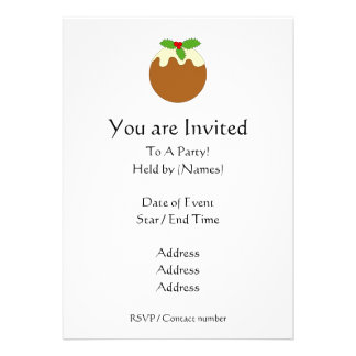 Christmas Pudding. White background. Custom Invite