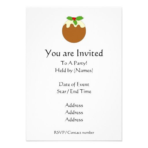 Christmas Pudding. White background. Custom Invite