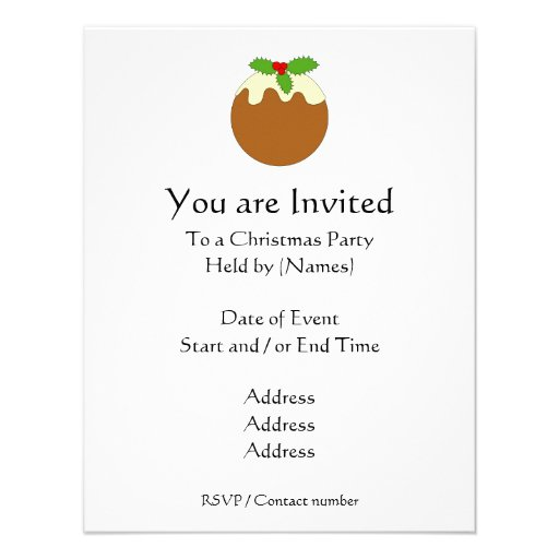 Christmas Pudding. White background. Personalized Invite
