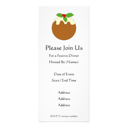 Christmas Pudding. White background. Personalized Announcements