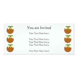 "Christmas Pudding. White background. 4"" X 9.25"" Invitation Card"