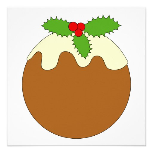 Christmas Pudding. White background. Invitations