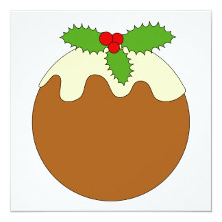 Christmas Pudding. White background. Invitations