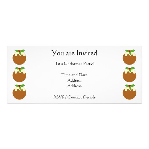 Christmas Pudding. White background. Personalized Invitation