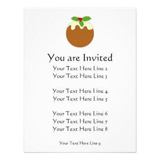 Christmas Pudding White background Custom Invitations
