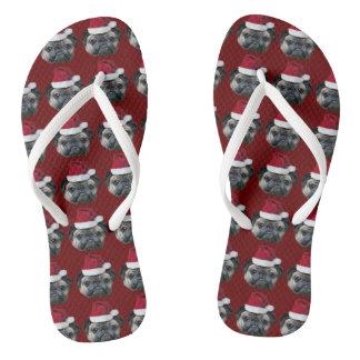 Christmas pug dog thongs