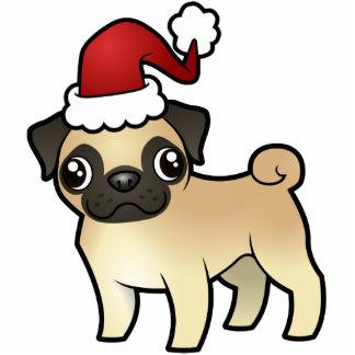 Christmas Pug Ornament Photo Sculpture Decoration