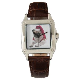 Christmas pug - santa claus dog - dog claus watch