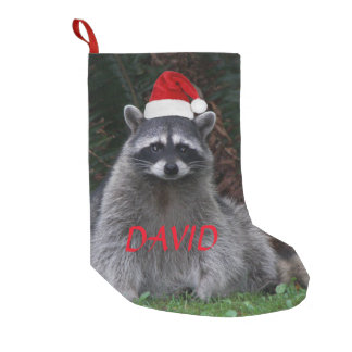 Christmas Racoon Personalised Small Christmas Stocking