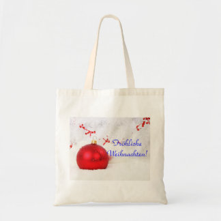 Christmas Red And White Frohliche Weihnachten II Budget Tote Bag