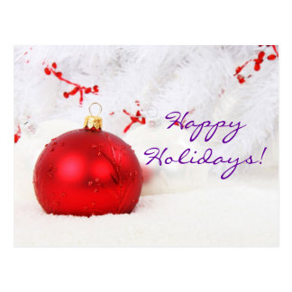 Christmas Red And White Happy Holidays I Post Card