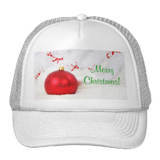 Christmas Red And White Merry Christmas Mesh Hats
