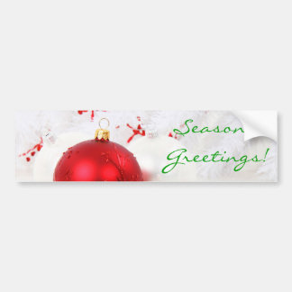 Christmas Red And White Seaon's Greetings I Car Bumper Sticker