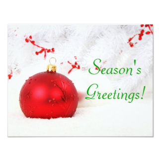 Christmas Red And White Season's Greetings I 4.25x5.5 Paper Invitation Card