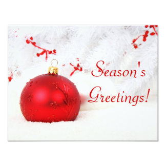 Christmas Red And White Season's Greetings 4.25x5.5 Paper Invitation Card