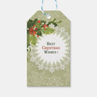 Christmas Red Berries Green Wreath Gift Tags