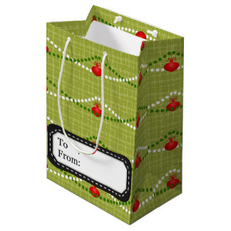 Christmas red green ornaments pattern medium gift bag