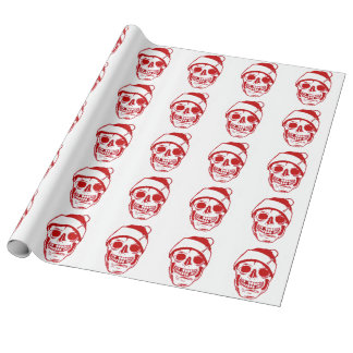 Christmas Red Skull In Santa Hat Luxury Linen Wrapping Paper