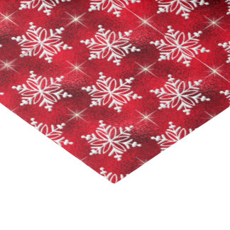 Christmas Red with White Snowflakes Tissue Paper