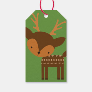 Christmas Reindeer Green Custom Gift Tags