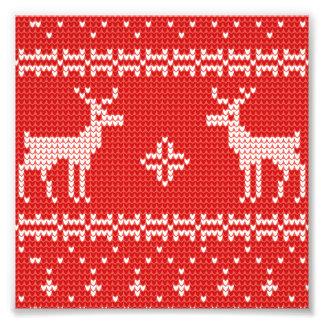 Christmas Reindeers Jumper Knit Pattern Photo Print