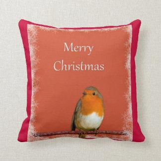 Christmas Robin Red Snowflakes Cushion