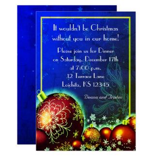 Christmas Royal Blue Dinner Party Invitation