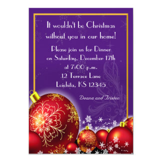 Christmas Royal Purple Dinner Party Invitation