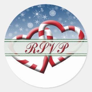 Christmas RSVP Holiday RSVP Hearts Envelope Round Sticker