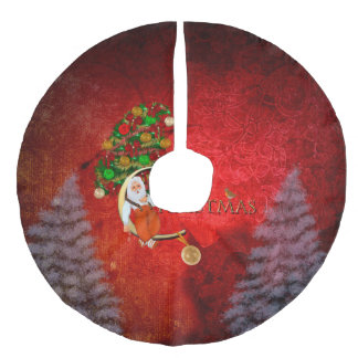 Christmas, Santa Claus Faux Linen Tree Skirt