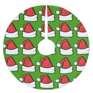Christmas Santa Claus Hat Red Green Pattern Brushed Polyester Tree Skirt