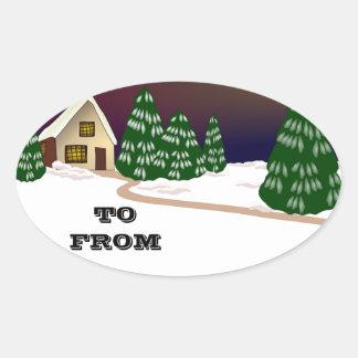 Christmas Santa Faith Love Peace Office Destiny Oval Sticker