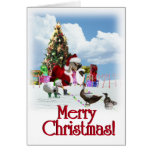Christmas Santa Goose And Ducks Greeting Card