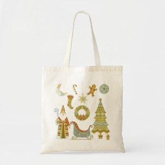 Christmas Santa Scene with Tree and Sleigh Tote Bag