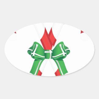 Christmas Santa Winter Peace Love Holiday Destiny Oval Sticker