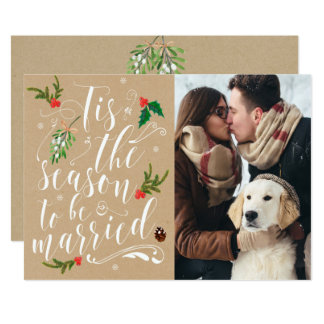 Christmas Save the Date card invitation wedding