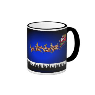 Christmas Seasons Greetings Happy Holidays Santa Ringer Mug