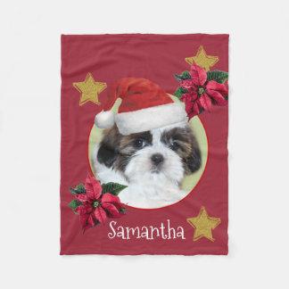 Christmas Shih Tsu personalised dog fleece blanket
