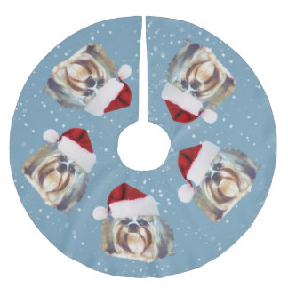 Christmas, Shih Tzu Dog, Santa Hat Brushed Polyester Tree Skirt