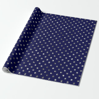 Christmas Silver Glitter Dots Navy Wrapping Paper