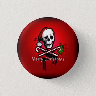 Christmas skull 3 cm round badge
