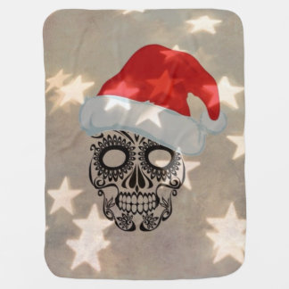 Christmas skull with star bokeh baby blanket