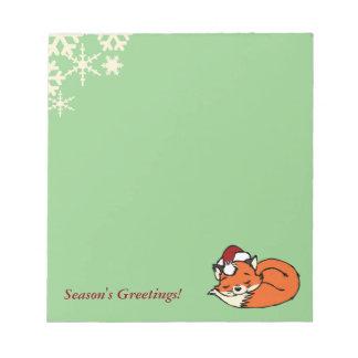 Christmas Sleeping Fox Notepad