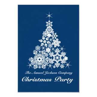 Christmas snowflake tree party invitation blue