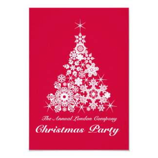 Christmas snowflake tree party invitation red
