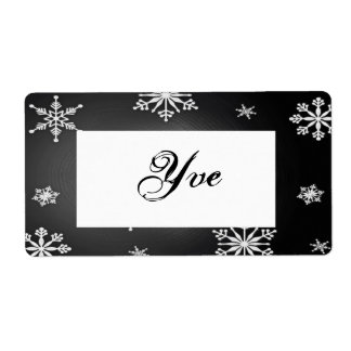 Christmas Snowflakes Black And Grey Template I Shipping Label