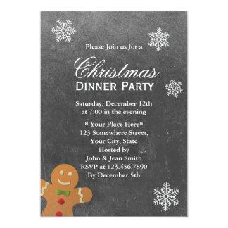 Christmas Snowflakes Chalkboard Dinner Party 13 Cm X 18 Cm Invitation Card
